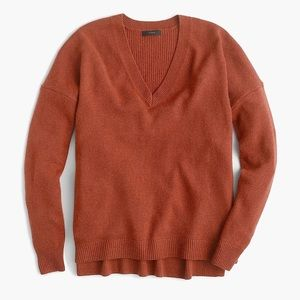 J. Crew V-Neck Tunic Sweater Oversized Wool Small